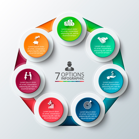 heptagon: Vector heptagon for infographic. Template for cycle diagram, graph, presentation and round chart. Business concept with 7 options, parts, steps or processes. Data visualization.