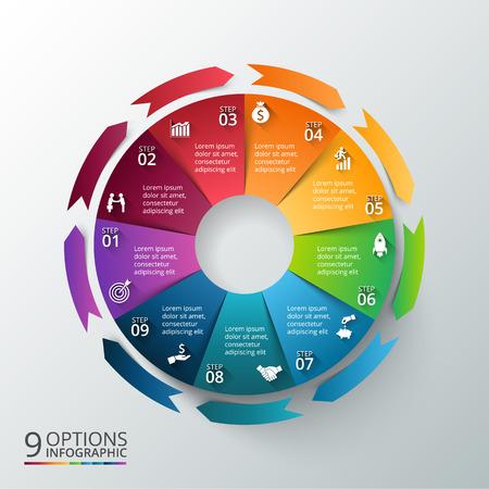 インフォ グラフィックの矢印ベクトル円。サイクル図、グラフ、プレゼンテーションおよび円形グラフのテンプレートです。9 のオプション、部品