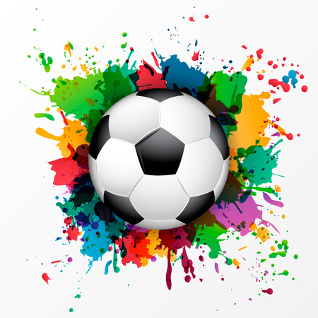 Soccer ball with colorful spray paint template background.