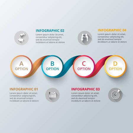 color chart: Vector element for infographic. Template for diagram, graph, presentation and chart. Business concept with 4 options, parts, steps or processes. Abstract background. Illustration