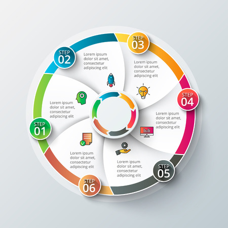 six: Vector infographic design template. Business concept with 6 options, parts, steps or processes. Can be used for workflow layout, diagram, number options, web design. Data visualization.