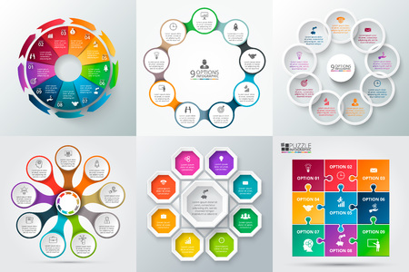 Vector elements for infographic. Template for cycle diagram, graph, presentation and round chart. Business concept with 9 options, parts, steps or processes. Abstract background. Çizim