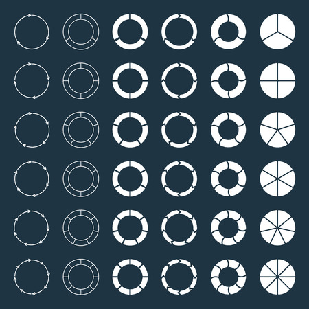 分割し、色とりどりの円グラフと矢印で 3、4、5、6、7、8 部門を設定します。図、グラフ、プレゼンテーション、グラフのテンプレートです。  イラスト・ベクター素材