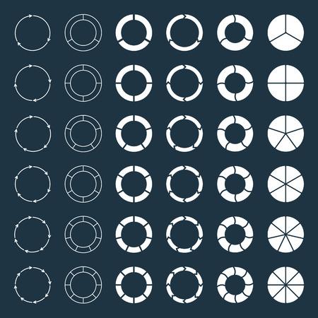 graficas de pastel: Cuadros y flechas circulares segmentados y multicolores establecen con 3, 4, 5, 6, 7 y 8 divisiones. Plantilla de diagrama, gráfico, presentación y gráfico. Vectores
