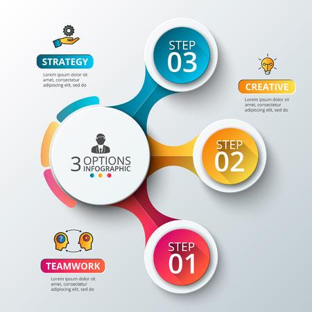 concepto: Elementos del vector para infografía. Plantilla para el diagrama, gráfico, presentación y gráfico. Concepto de negocio con 3 opciones, partes, etapas o procesos. Resumen de antecedentes. Vectores