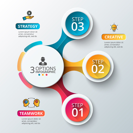 strategies: Vector elements for infographic. Template for diagram, graph, presentation and chart. Business concept with 3 options, parts, steps or processes. Abstract background. Illustration