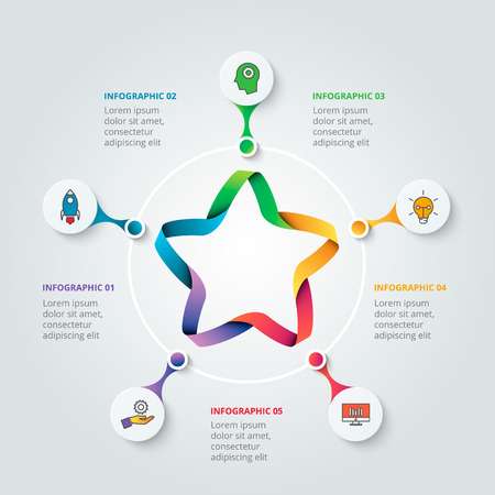 five star: Vector star for infographic. . Business concept with 5 options, parts, steps or processes. Can be used for workflow layout, diagram, number options, web design. Data visualization.