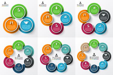 Vector círculo infografía. Plantilla para el diagrama del ciclo, gráfico, la presentación y el gráfico ronda. Concepto de negocio con 3, 4, 5, 6, 7 y 8 opciones, partes, etapas o procesos. Visualización de datos. Ilustración de vector