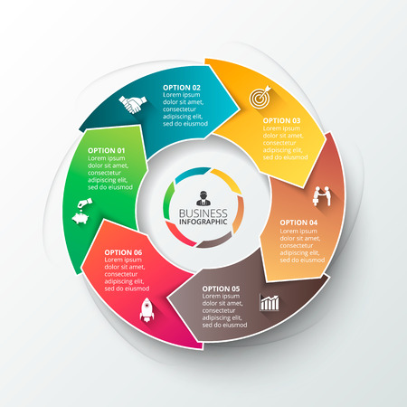 インフォ グラフィックのベクター円要素です。サイクル図、グラフ、プレゼンテーションおよび円形グラフのテンプレートです。6 のオプション、  イラスト・ベクター素材