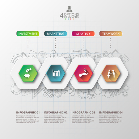 Abstract infographics number options template. Vector illustration. can be used for workflow layout, diagram, business step options, banner, web design Stok Fotoğraf - 51663190