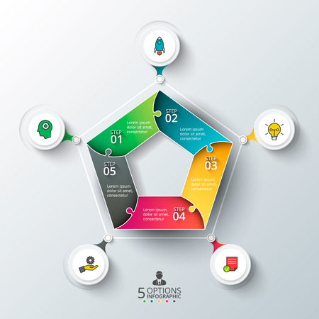 Vector pentagon for infographic. Template for cycle diagram, graph, presentation and round chart. Business concept with 5 options, parts, steps or processes. Abstract background.