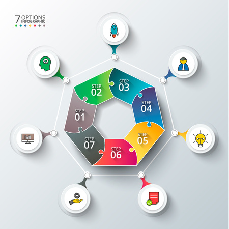 heptagon: Vector heptagon for infographic. Template for cycle diagram, graph, presentation and round chart. Business concept with 7 options, parts, steps or processes. Abstract background.