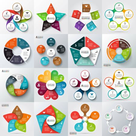 five: Big set of vector arrows, pentagons, circles and other elements for infographic. Template for cycle diagram, graph, presentation. Business concept with 5 options, parts, steps or processes. Illustration