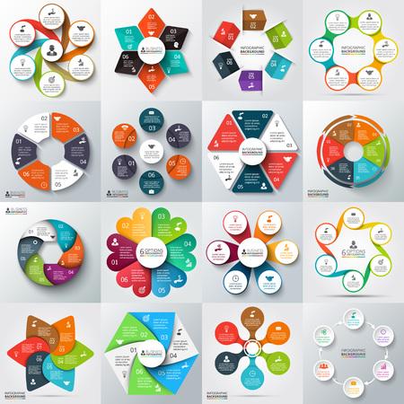 Gran conjunto de flechas de vector, hexágonos, círculos y otros elementos para la infografía. Plantilla para el diagrama del ciclo, gráfico, presentación. Concepto de negocio con 6 opciones, partes, etapas o procesos. Ilustración de vector