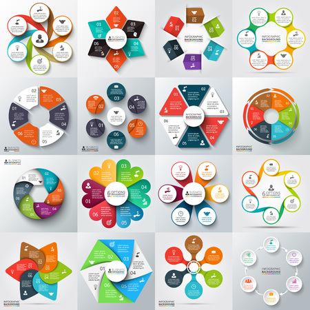 diagrama procesos: Gran conjunto de flechas de vector, hexágonos, círculos y otros elementos para la infografía. Plantilla para el diagrama del ciclo, gráfico, presentación. Concepto de negocio con 6 opciones, partes, etapas o procesos.