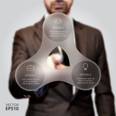 three hands: Businessman pressing button on a virtual background. Circle line infographic. Business concept with 3 options, parts, steps or processes. Linear graphic. Blur vector background. Illustration