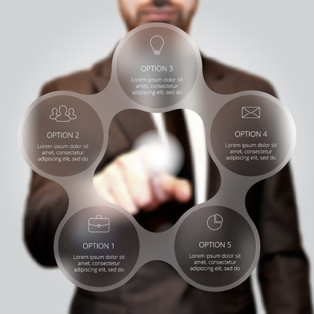 select: Businessman pressing button on a virtual background. Circle line infographic. Business concept with 5 options, parts, steps or processes. Linear graphic. Blur vector background.