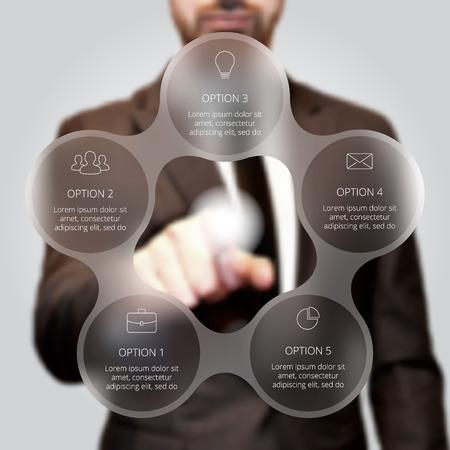 El hombre de negocios presionando el botón en un fondo virtual. Círculo infografía línea. Concepto de negocio con 5 opciones, partes, etapas o procesos. gráfico lineal. La falta de definición del fondo del vector. Ilustración de vector