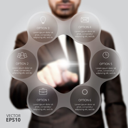 structure: Businessman pressing button on a virtual background. Circle line infographic. Business concept with 6 options, parts, steps or processes. Linear graphic. Blur vector background.