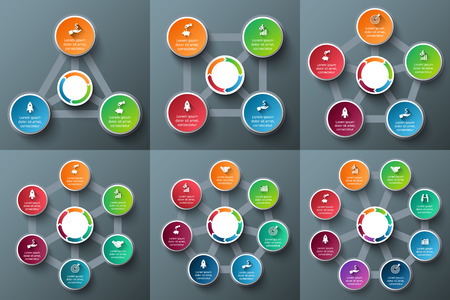 tabs: Vector circle elements for infographic. Template for cycle diagram, graph, presentation and round chart. Business concept with 3, 4, 5, 6, 7 and 8 options, parts, steps or processes.