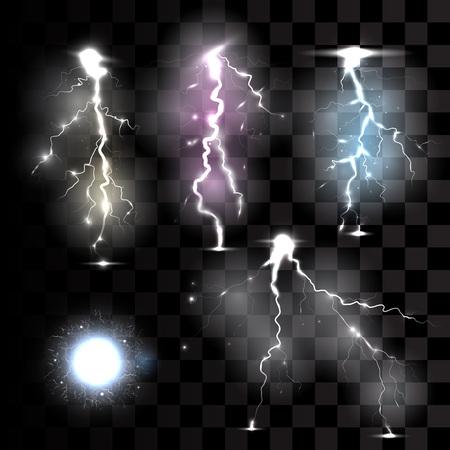 lightnings: Realistic lightnings on transparent background vector illustration. Illustration