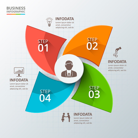 options: Vector infographic design template. Business concept with 4 options, parts, steps or processes. Can be used for workflow layout, diagram, number options, web design. Data visualization.