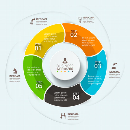 digital numbers: Vector infographic design template. Business concept with 5 options, parts, steps or processes. Can be used for workflow layout, diagram, number options, web design. Data visualization.