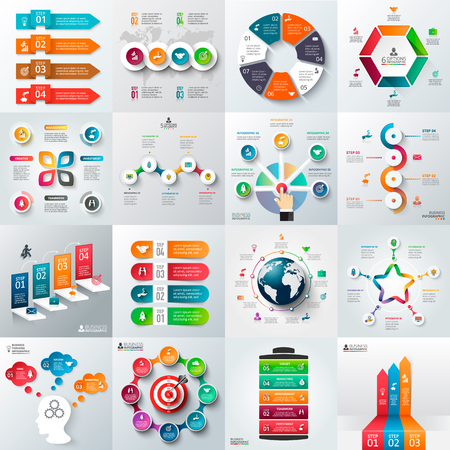 parts: Business infographic template set. Vector illustration. Can be used for workflow layout, banner, diagram, number options, web design, timeline elements
