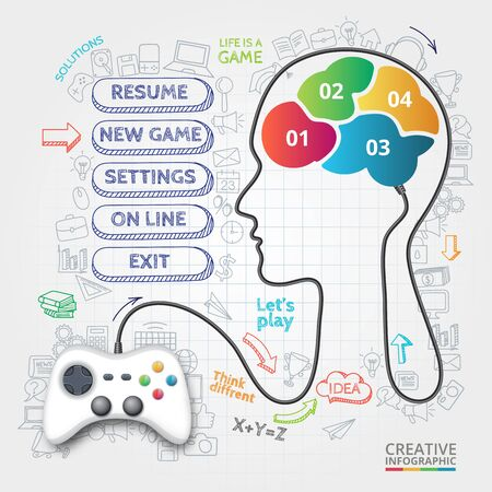 brainstorming: Vector gamepad that controls the brain. Doodles icons set. Infographic template with 4 options, parts, steps or processes. Illustration