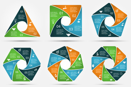 6 7: Vector circle infographic. Template for cycle diagram, graph, presentation and round chart. Business concept with 3, 4, 5, 6, 7 and 8 options, parts, steps or processes. Data visualization.