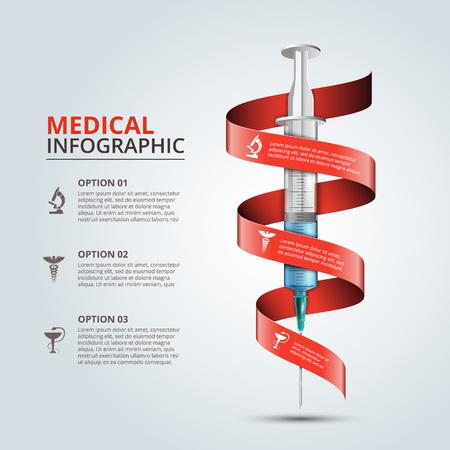Vector seringue avec un ruban rouge pour infographies. Modèle de diagramme, graphique, présentation et graphique. concept de soins médicaux avec 3 options, parties, étapes ou processus. Résumé de fond