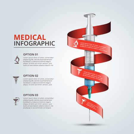 Vector syringe with red ribbon for infographics. Template for diagram, graph, presentation and chart. Medical healthcare concept with 3 options, parts, steps or processes. Abstract background Ilustração