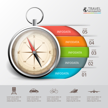 bussola: Vector viaggio infografica con una bussola. Modello per diagramma di ciclo, grafico, presentazione e grafico rotondo. Concetto di affari con 5 opzioni, parti, passi o processi. Abstract background.