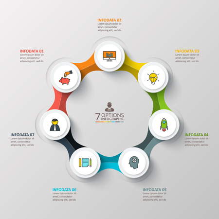design process: Vector infographic design template. Business concept with 7 options, parts, steps or processes. Can be used for workflow layout, diagram, number options, web design. Data visualization.