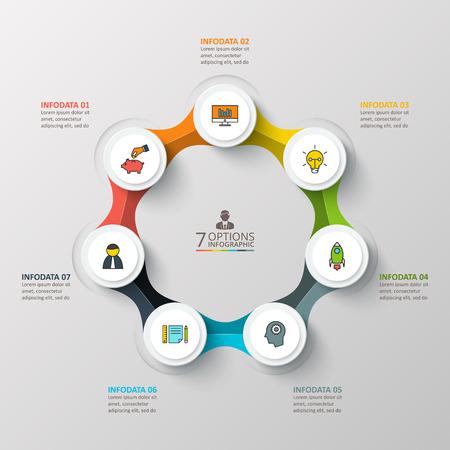 proceso: Vector plantilla de diseño infográfico. Concepto de negocio con 7 opciones, partes, etapas o procesos. Puede ser utilizado para el diseño de flujo de trabajo, diagrama, opciones de número, diseño de páginas web. Visualización de datos.