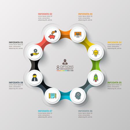 Vector plantilla de diseño infográfico. Concepto de negocio con 8 opciones, partes, etapas o procesos. Puede ser utilizado para el diseño de flujo de trabajo, diagrama, opciones de número, diseño de páginas web. Visualización de datos. Ilustración de vector
