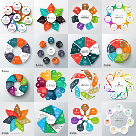 business process diagrams: Big set of vector arrows, heptagons, circles and other elements for infographic. Template for cycle diagram, graph, presentation. Business concept with 7 options, parts, steps or processes.