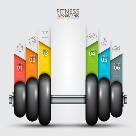 dumbbell: Fitness statistics and infographics with dumbbell. Business concept with 63 options, parts, steps or processes. Can be used for workflow layout, diagram, number options, web design.