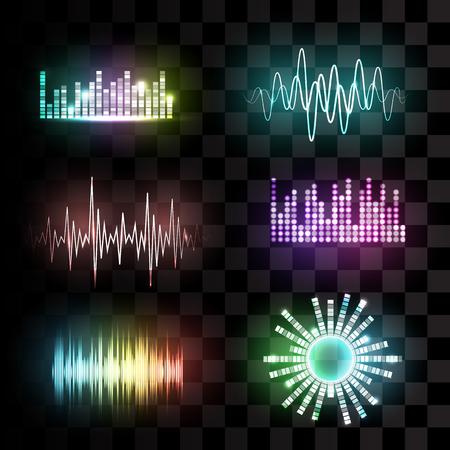transparen: ondas de sonido conjunto de vectores en el fondo transparente. La tecnología ecualizador de audio, música de pulso. ilustración vectorial Vectores