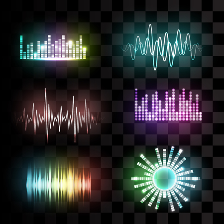 electronic background: Vector sound waves set on transparent background. Audio equalizer technology, pulse musical. Vector illustration