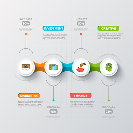 Vector kringen voor infographic. Template voor het diagram, grafiek, presentatie en grafiek. Zakelijk concept met 4 opties, delen, stappen of processen. Abstracte achtergrond.