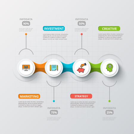 horizontální: Vektorové kruhy pro Infographic. Šablona pro diagram, graf, prezentace a tabulky. Obchodní koncepce s 4 možnosti, náhradních dílů, kroků nebo procesů. Abstraktní pozadí. Ilustrace