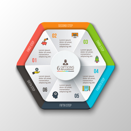visualization: Vector hexagon infographic. Template for cycle diagram, graph, presentation and round chart. Business concept with 6 options, parts, steps or processes. Data visualization. Illustration