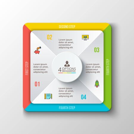 diagrama: Vector de infografía cuadrado. Plantilla para el diagrama del ciclo, gráfico, la presentación y el gráfico ronda. Concepto de negocio con 4 opciones, partes, etapas o procesos. Visualización de datos.