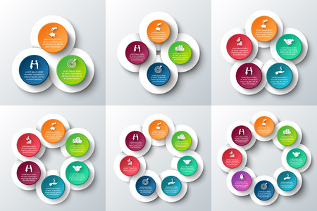 3 4: Vector circle infographic. Template for cycle diagram, graph, presentation and round chart. Business concept with 3, 4, 5, 6, 7 and 8 options, parts, steps or processes. Data visualization.