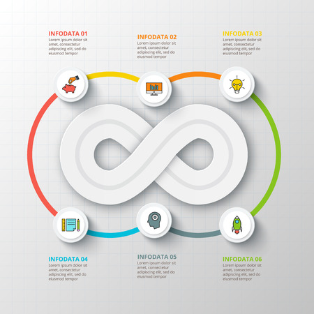 infinity: Vector infinity element for infographic. Template for cycling diagram, graph, presentation. Business concept with 6 options, parts, steps or processes. Abstract background.
