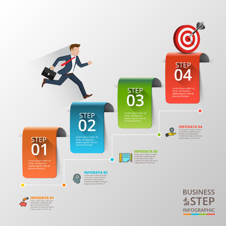 layout: Businessman stepping up the stairs of ribbons, carrying briefcase. Business growth step infographics option. Template for presentation and workflow layout. Abstract background.