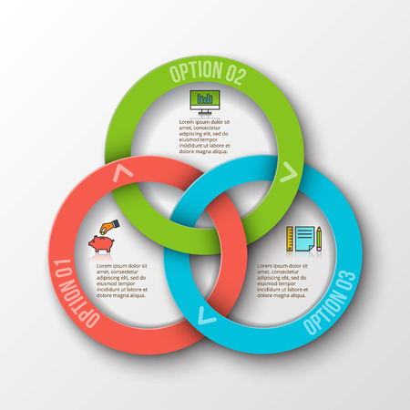 ring: rings infographic. Template for cycle diagram, graph, presentation and round chart. Business concept with 3 options, parts, steps or processes. Data visualization.