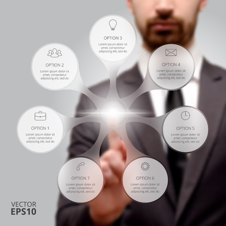 Businessman pressing button on a virtual background. Circle line infographic. Business concept with 7 options, parts, steps or processes. Linear graphic. Blur vector background