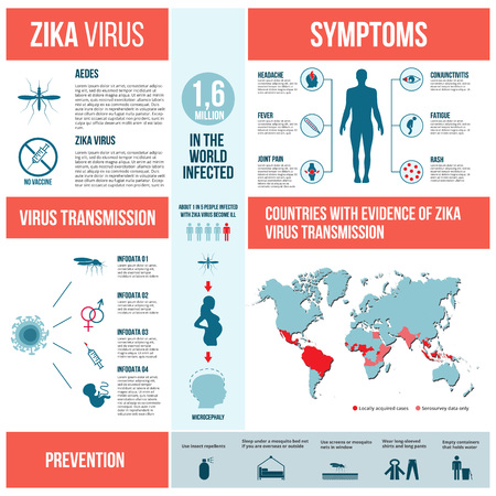 aedes: Zika virus infographics with transmission, symptom, prevention and treatment.